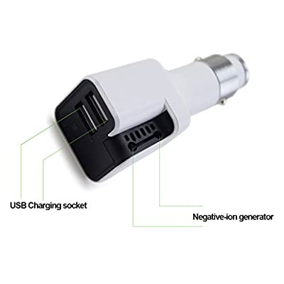 Purification Car Charger,TYZEST 12-24VDC 3.4A 2-Port USB Car Charger and Car Air Purifier for iPhone, iPad, Galaxy, Note Series Phones,Tablets and More