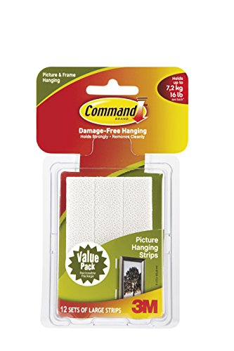 Large Picture Hanging Strips, White, 12-Sets of Strips
