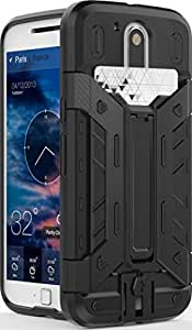 Moto G4 Case, (SWAN) Slim Armor Cover Hybrid Dual Layer Back cover For Motorola Moto G4 (Black) With Card Slot And Kickstand