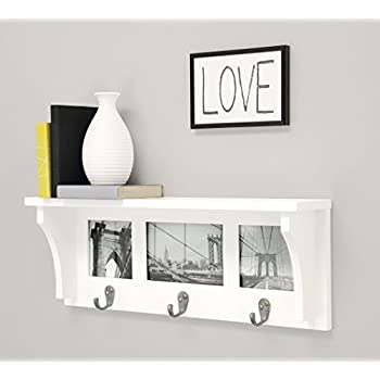 Kiera Grace Riley Wall Shelf and Picture Collage with 3 Hooks, 18.5-Inch by 7-Inch, Holds 2- 4 by 4-Inch and 1- 4 by 6-Inch Photo, White