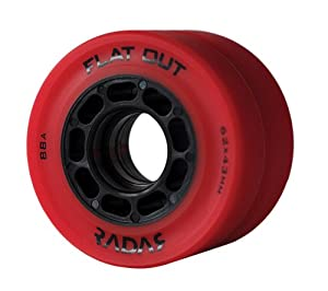 Radar Flat Out Red Derby Wheels - 88A Riedell Roller Skate Wheel
