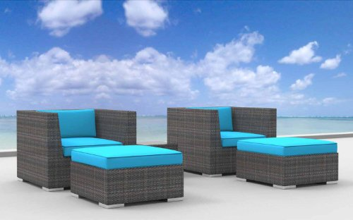 Urban Furnishing - Curacao 5d Ultra Modern Outdoor Backyard Wicker Patio Furniture Sofa Chair 5pc All-Weather Couch Set - sea blue