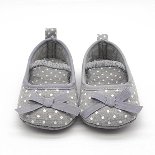 Voberry® Newborn Baby Infant Girls Bow Tie Leopard Flat Shoes Crib Shoes Prewalker (0~6 Month, Gray)