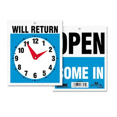New - Double-Sided Open/Will Return Sign w/Clock Hands, Plastic, 7-1/2 x 9 by U. S. Stamp & Sign (Headline Sign 9382 compare prices)