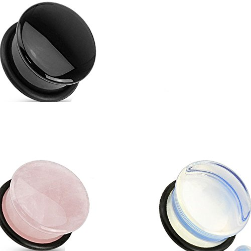 3 Pair Of (6 Total) 1/2 Inch 12Mm Opal Black Rose Single Flare Plugs