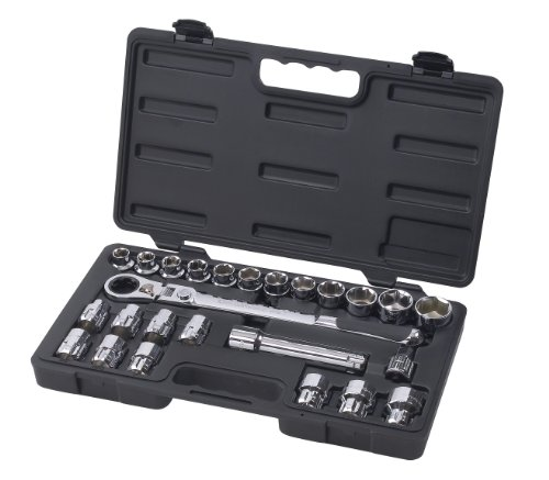 GearWrench 891226 25 Piece 1/2-Inch Drive (30mm) Pass Thru Ratchet Set with Locking Flex-Head