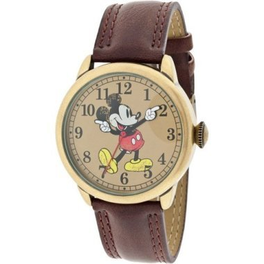 Disney MCK959 Mickey Mouse Unisex Gold Tone & Leather Classic Moving Hands Watch 0