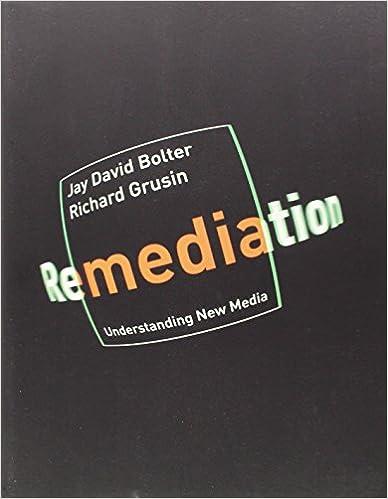Questo saggio di  Jay David Bolter e Richard Grusin chiarisce bene come un media analogico transita e si relazione a un nuovo media digitale. Secondo Bolter il media digitale presenta il vantaggio rispetto alla scrittura di integrare percezioni visive e uditive al tempo stesso e della fluidità che lo estende in un nuovo spazio condiviso e multimediale.