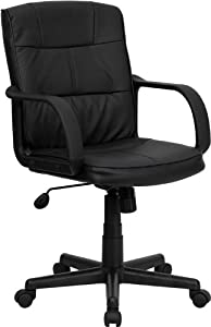 Flash Furniture Mid-Back Black Leather Office Chair with Nylon Arms