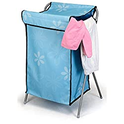 House of Quirk Nylon Mesh Foldable Laundry Basket Easy To Fold Basket - Skyblue