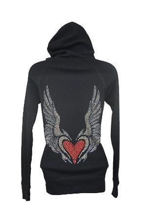 Bling Huge Bird Angel Red Heart Wings Black Hoodie