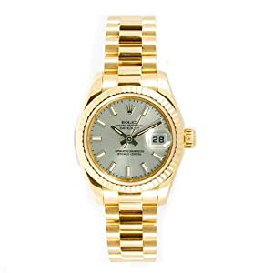 Rolex Ladys President New Style Heavy Band 18k Yellow Gold Model 179178 Fluted Bezel Silver Stick Dial