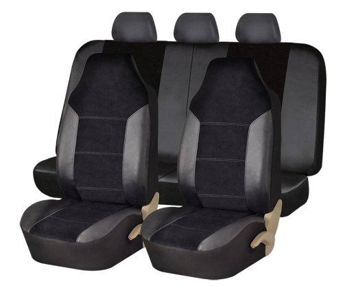 Fh-Fb103115 Leather / Velour Seat Covers Airbag Compatible And Split Rear Bench Black front-1016387