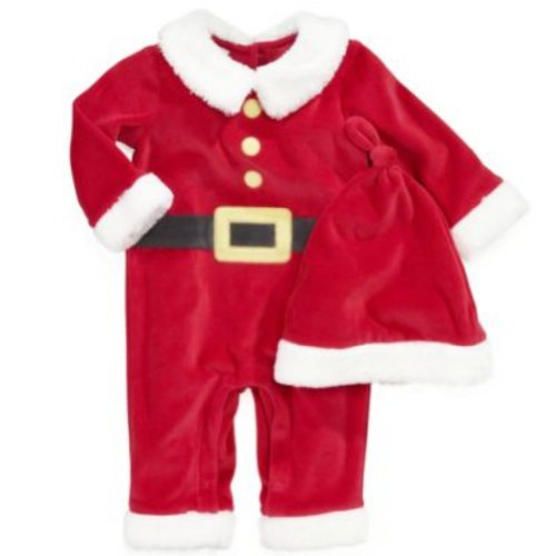 First Impressions Infant Boys & Girls Red Velvet Santa Suit & Christmas Hat