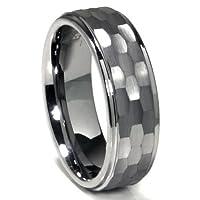 Tungsten Carbide Hammer Finish Wedding Band Ring