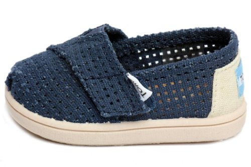 Toms - Tiny Classic Slip-On Shoes, Size: 6 M US Toddler, Color: Navy Perforated (Toms Shoes Size 6 compare prices)