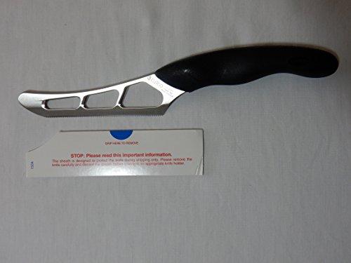 "Model 1504 CUTCO Cheese Knife w/ 5.5"" Micro-D® serrated edge blade & 5"" black Soft Comfort-grip handle. Holes on blade's"