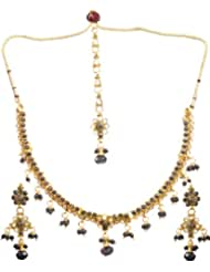 Exotic India Black Polki Necklace Set With Mang Tika - Copper Alloy