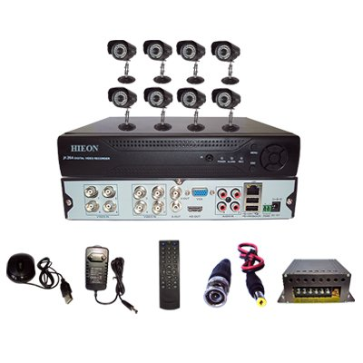 Hieon HVD804 8Channel DVR + 8 (800TVL) IR Bullet CCTV Cameras (With Mouse, Remote, Cable, AV Pin, SMPS)