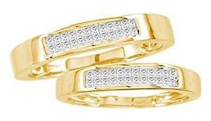 Pricegems 14K Yellow Gold Ladies Princess Diamond Invisible Set Bridal Ring Size: 7.75)
