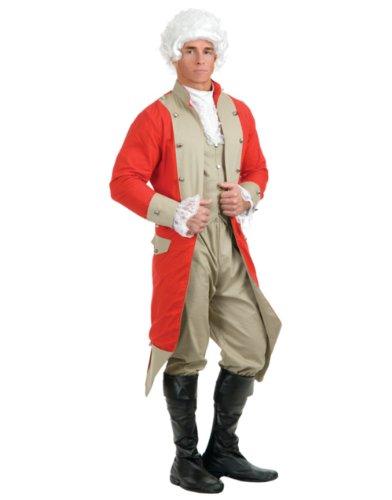 Charades Men's British Red Coat Costume Set, Red/Tan, Medium