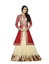 Pure Georgette Red And Cream Anarkali Semi Stitched Embroidered Dress