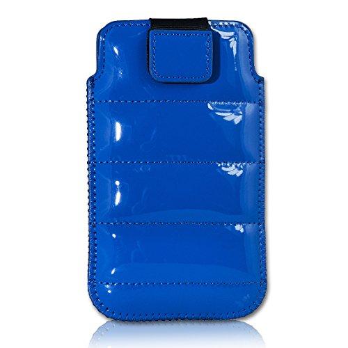 Handy Tasche Case Schutz Hülle Schutzhülle Schale Etui Glamour Style blau G4 Gr.3 für Samsung C3312 Rex60 / S5222R Rex80 / Galaxy Young S6310 / Galaxy Young Duos S6312 / Galaxy Pocket Plus S5301 / Samsung Galaxy Pocket Neo S5310 / Alcatel OT 903D / Alcatel OT Star 6010D