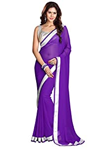 Sourbh Saree Latest Lace Work Faux Georgette Must Have Best Sarees for Women Party Wear, Special Karwa Chauth Gift for Wife, Women Clothing Collection
