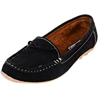 Remson India Women's Suede Casual Loafers (Black, 40 Eu)