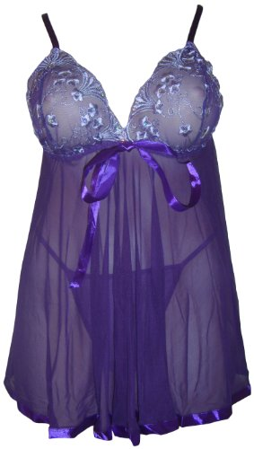 sexy babydoll negligee dessous mit string lila