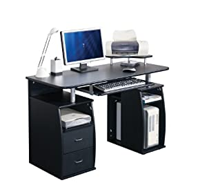 COMPUTER DESK HOME OFFICE FURNITURE PC TABLE BLACK NEXT DAY DELIVERY Amazo