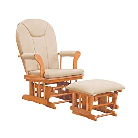 Kendall Sleigh Style Glider Rocker and Ottoman Value Set- Honey Finish with Beige Micro Fiber