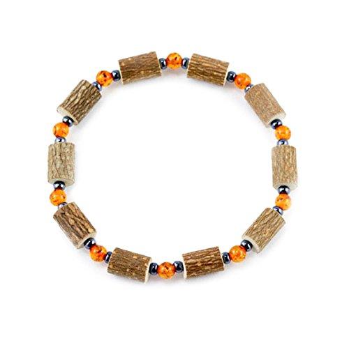 Healing Hazel Hazelamber Women/Teens Wrist Bracelet, Hematite/Amber