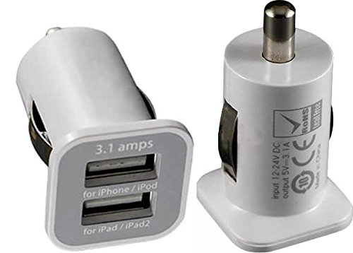 Rhaise micro USB 3100 MA weiß / weiss 2 USB Anschlüsse Tablet / Handy Schnelllader Reiselader Auto stick Adapter KfZ Ladegerät High Speed Load Asus Fonepad 16 GB 7