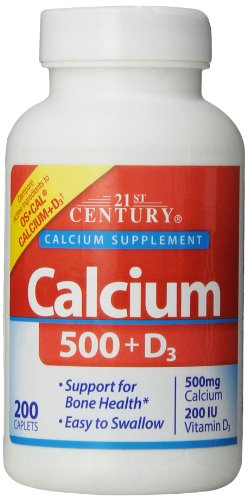 21St Century Calcium 500 Plus D Caplets, 200 Count