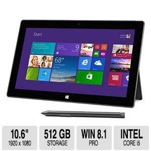 Microsoft Surface Pro 2 Tablet 512Gb Ssd 8Gb Ram 10.6 Inch 1920 X 1080 Resolution 4Th Generation Intel Core I5 Processor Usb 3.0 Two 720P Hd Cameras front-342038