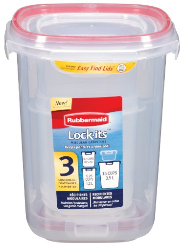 Rubbermaid FG7L0600CIRED 3-Piece Lock Its Canister, Includes 1- 3.7 Cup, 1 – 5.25 Cup, and 1 – 15 Cup Canister