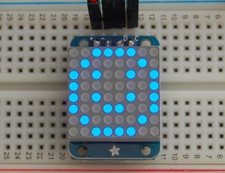 Mini 8X8 Blue Led Matrix With I2C Backpack