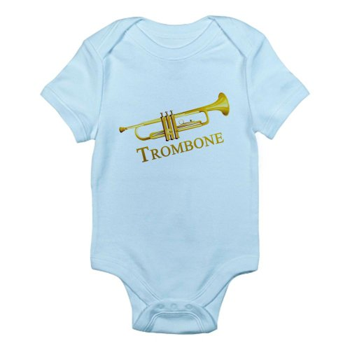 Cafepress Trombone Musical Instrument Infant Bodysuit - 3-6M Sky Blue front-496151