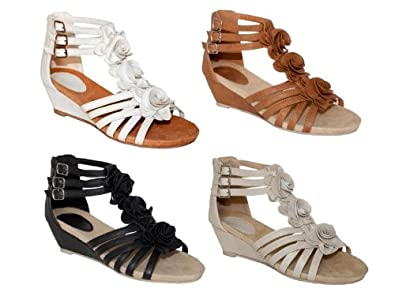 WOMENS STRAPPY GLADIATOR LOW WEDGE TBAR FLOWER WEDGES LADIES ANKLE ZIP SHOES BLACK 3