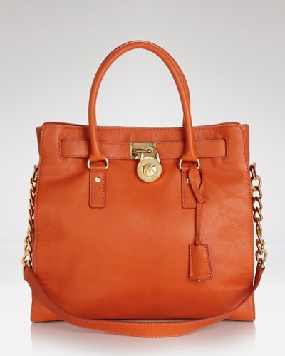 Michael Michael Kors Tote Large Hamilton Gold Hardware Burnt Orange