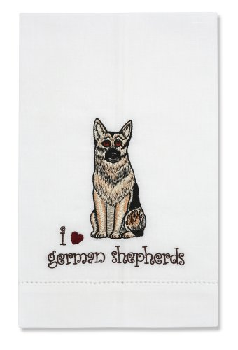 Rescue Me Now German Shepherd Tea Towel, 11 By 7-Inch, Embroidered front-434290