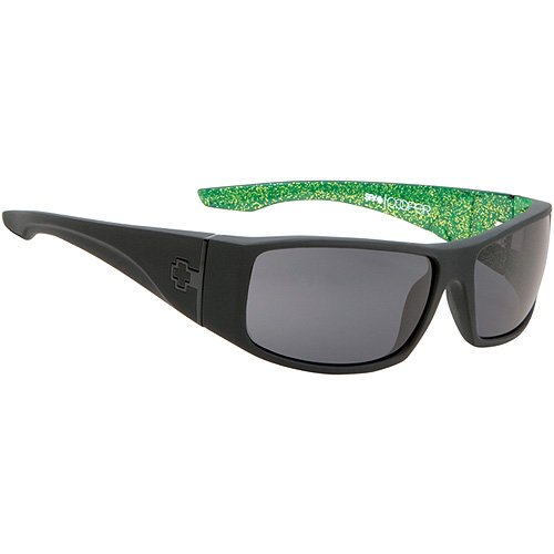 Spy Cooper XL Sunglasses - Spy Optic Roland Sands Collection Limited Edition Casual Eyewear - Color: Matte Black with Green/Grey, Size: One Size Fits All