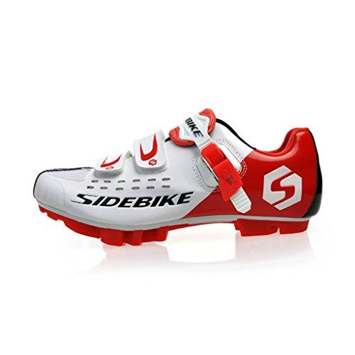 Side Bike MTB bicicletta Mountain Bike uomo scarpe donna scarpe da 6, 5-12UK, Bambina Uomo Unisex Donna Ragazzo, bianco/rosso, EU 40 ( UK 6.5 )