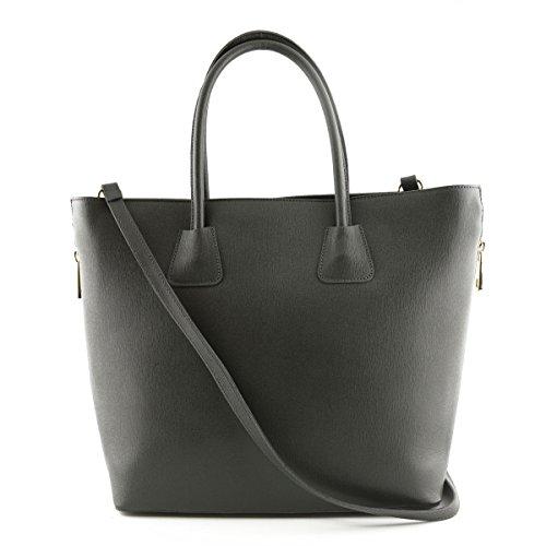 Sac Shopper En Cuir Véritable Pour Femme, 2 Glissières Latérales Noir - Maroquinerie Fait En Italie - Sac Femme