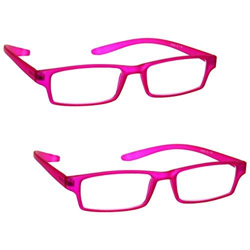 La Compañía Gafas De Lectura Matt Rosa Cuello Specs Lectores Valor Pack 2 Mujeres Señoras Inc Caso UVR2PK021PK Dioptria +1,00