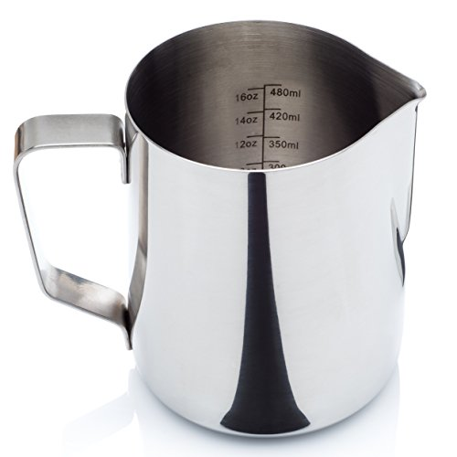 Stainless Steel Milk Frothing Pitcher - with Measurement Markings and Bonus Storage Bag (12 or 20 oz.) - for Espresso Maker, Hot Milk Frother and Cappuccino Maker (Kitchen Classics Glass Storage compare prices)