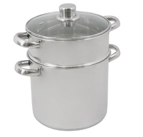 Crealys, 502365, Pentola per Couscous in acciaio Inox con coperchio in vetro, 12 l, diametro 24 cm, Argento (silber)
