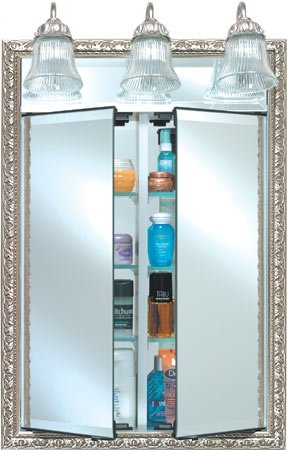 Afina Signature Collection, Group A, Double Door w/ Traditional Light, 3 Glass Shelves