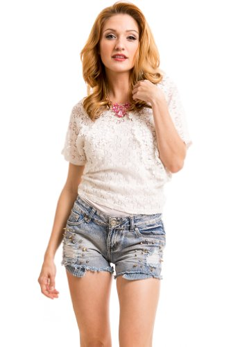 Floral Crocheted Lace Blouse in White
